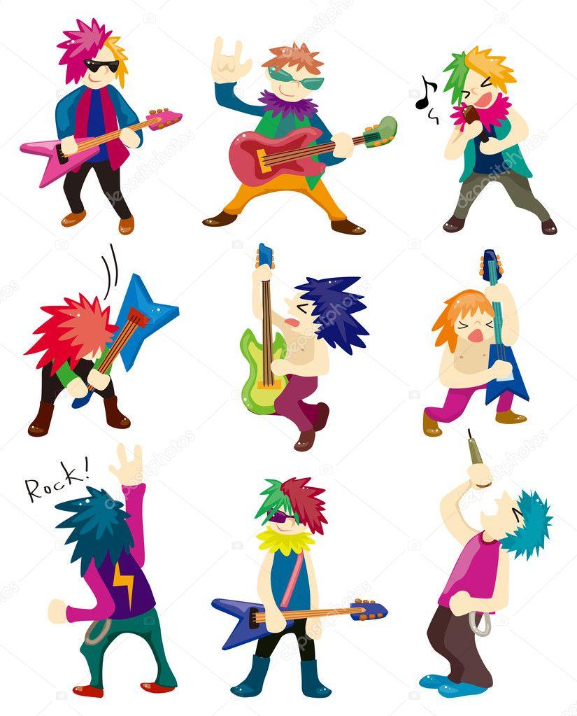 Cartoon Heavy Metal rock music band clipart vector