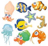 Fotografia cartone animato pesce insieme, set di icone