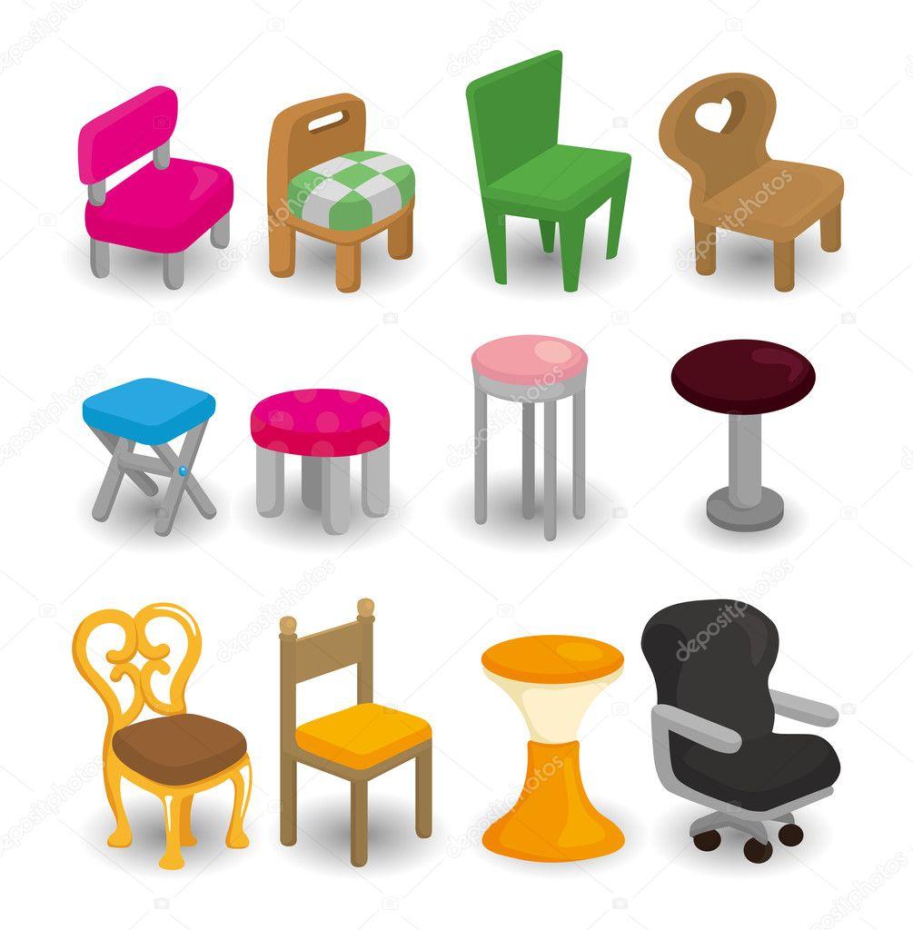 Conjunto De Iconos De Dibujos Animados Silla Muebles Vector De  # Muebles Dibujos Animados