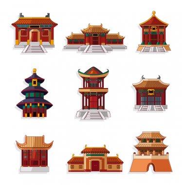 cartoon Chinese house icon set