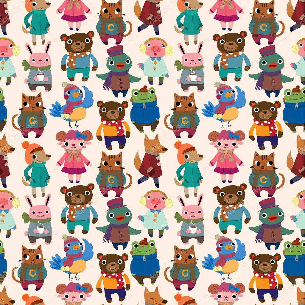 winter animal seamless pattern