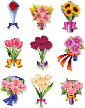 Flower bouquet icons stock vector