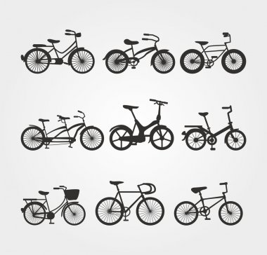 Set of Bicycle Vector Silhouettes
