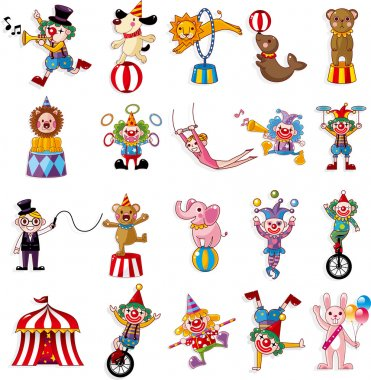 Cartoon happy circus show icons collection stock vector