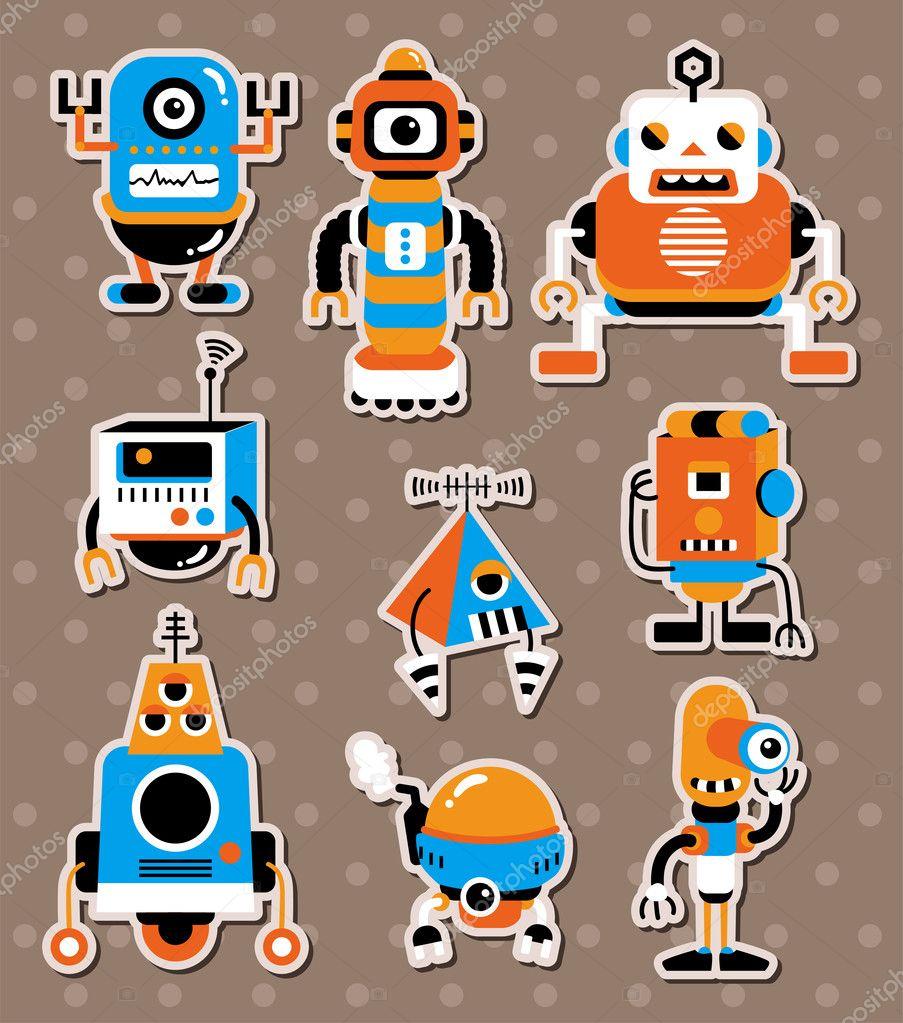 Cartoon Robot Sticers Stock Vector C Mocoo2003 9872010