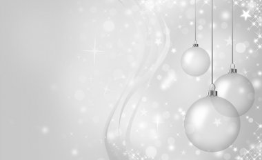 Elegant silver Christmas card with glass balls