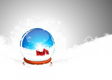 Vector illustration on a Christmas theme with snow globe against and magic