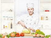 Fotografia chef femmina preparazione pasto