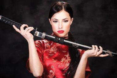 Woman and katana sword
