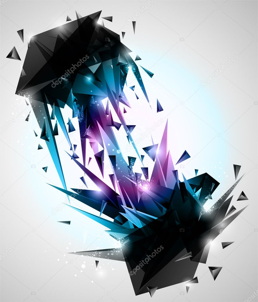 Sharp Contacts, 3d Abstract shapes Background
