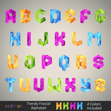 Trendy Colorful Alphabet based on Fractal Geometry.
