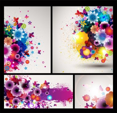 Flower spring Background set.
