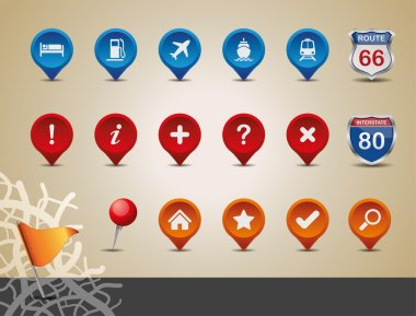 GPS and MAP Icon Set.