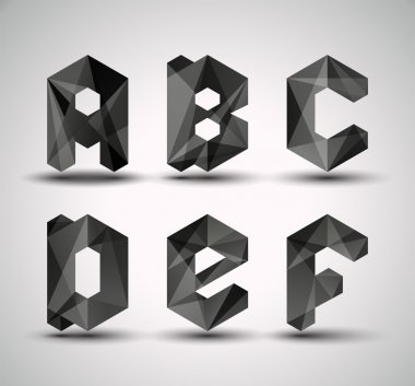 Trendy Black Fractal Geometric Alphabet.