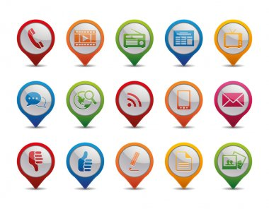 Communication icons in the form of GPS icons. stock vector