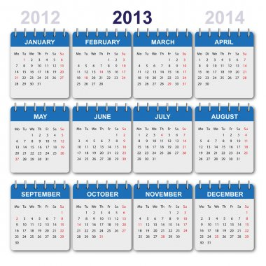 Calendar 2013 with US-Holidays