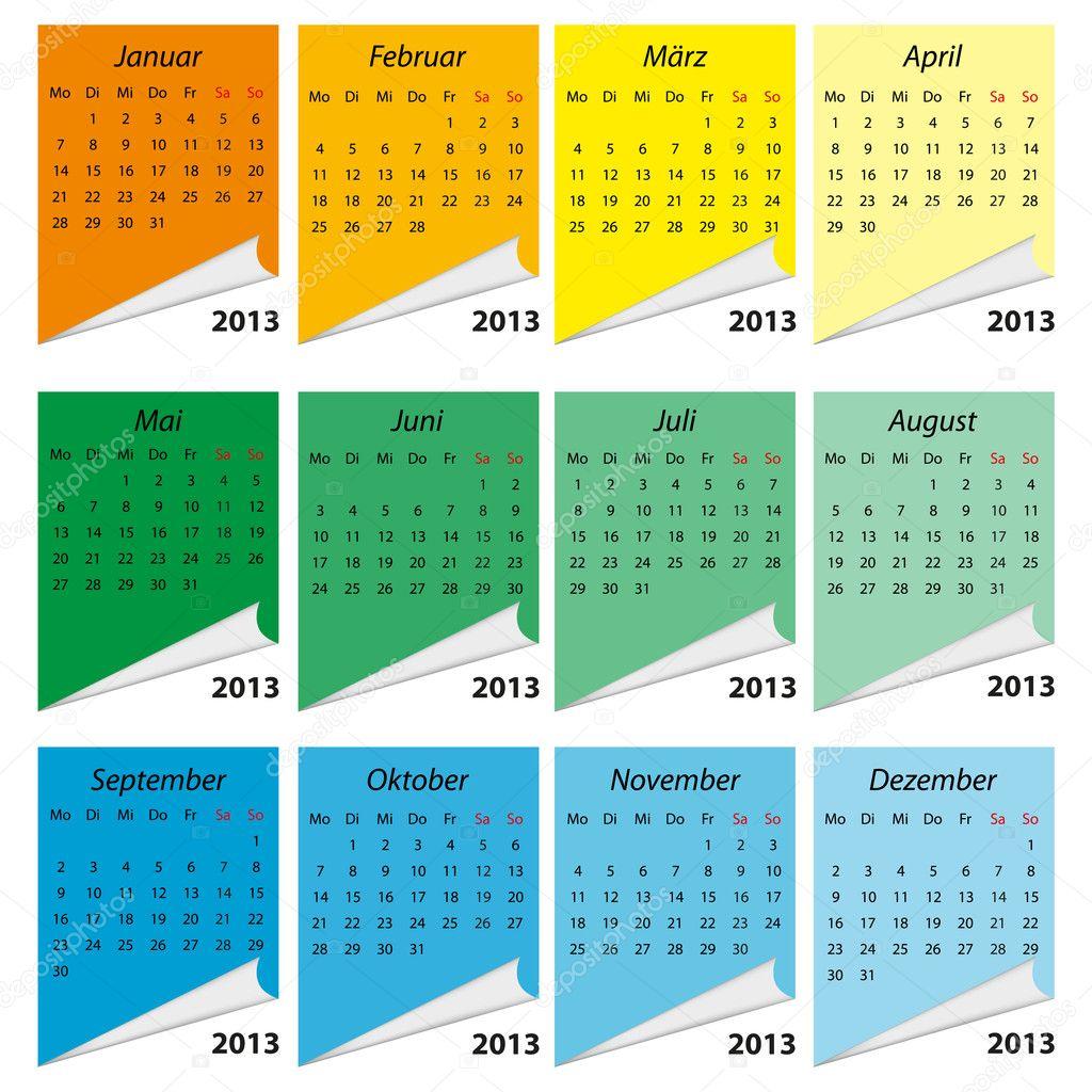 kalender 2013 deutsch stock vector emeritus2010 9572269. Black Bedroom Furniture Sets. Home Design Ideas