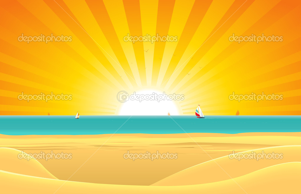 Summer Beach With Sailboat Postcard Background