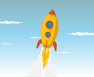 Cartoon Gold Space ship