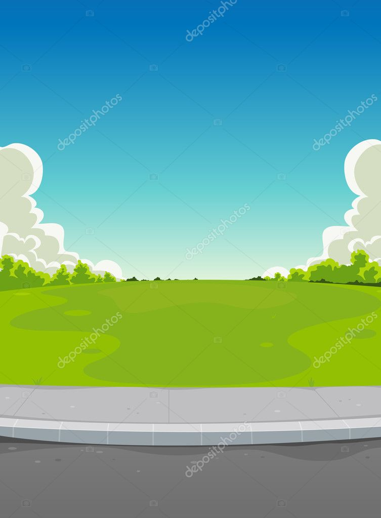 Pavement And Green Park Background