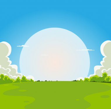 Illustration of a cartoon moon rising under spring fields landscape stock vector