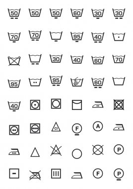 Washing icons set in black clip art vector
