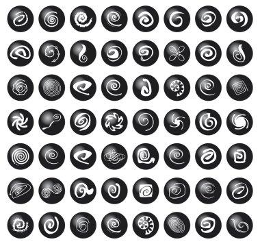 Set di spirali su bolle nere