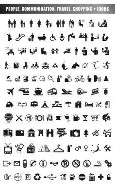 Communication, travel, shopping icons
