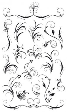 Set of floral decorations and garlands in black insolated on white stock vector
