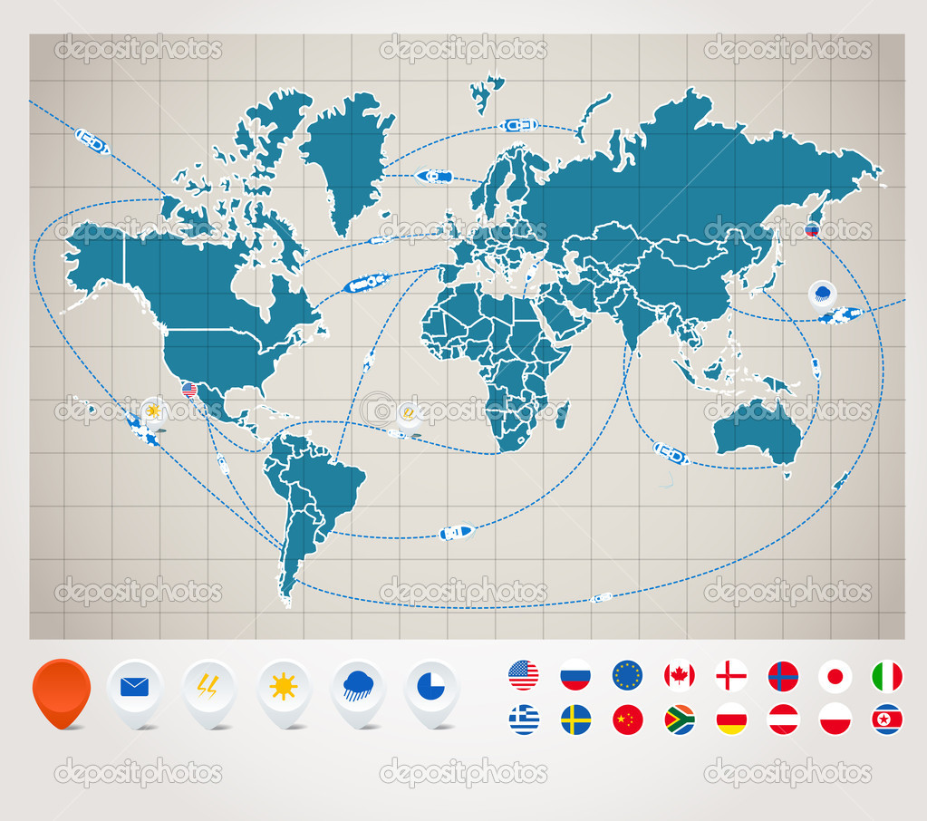 Infographics world map with ship tracking stock vector infographics world map with ship tracking stock vector gumiabroncs Gallery
