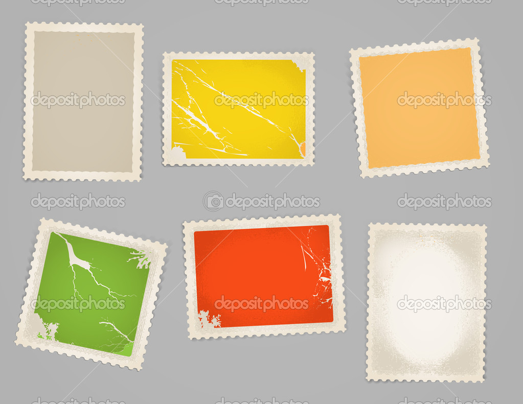 Vintage Color Post Stamps Template Stock Vector Tovovan 8012852
