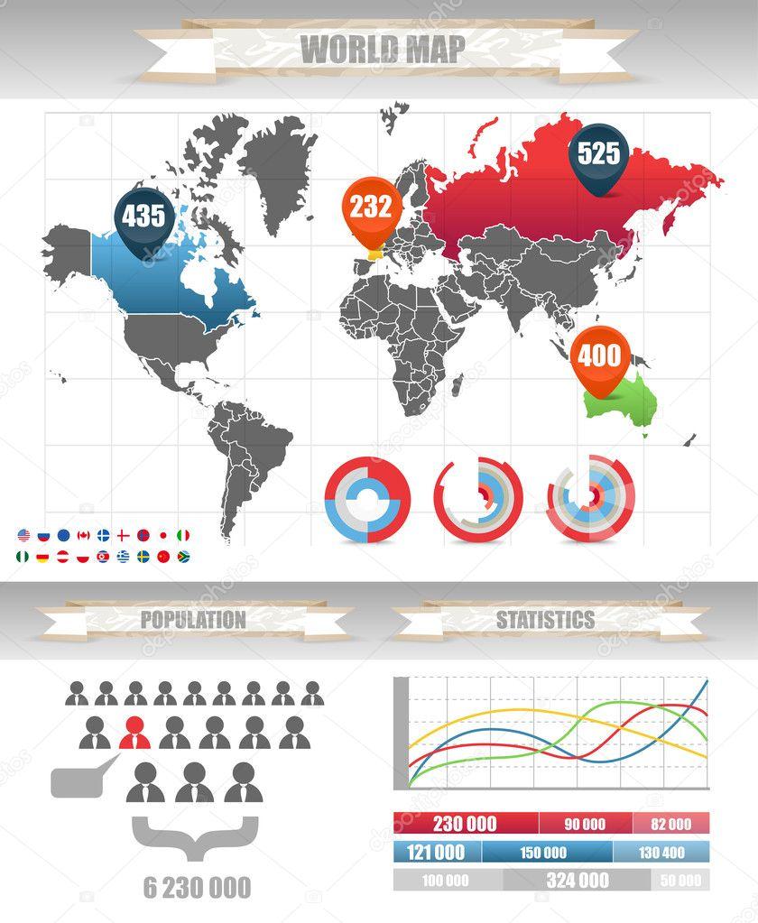 03b6accd467 infográficos. mapa de terra e gráficos diferentes — Vetores de Stock ...