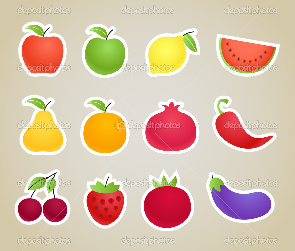 Plant top view vector in group download free vector art stock - Vector Fruit And Vegetables Silhouettes Clip Art Stock Vector 8865656