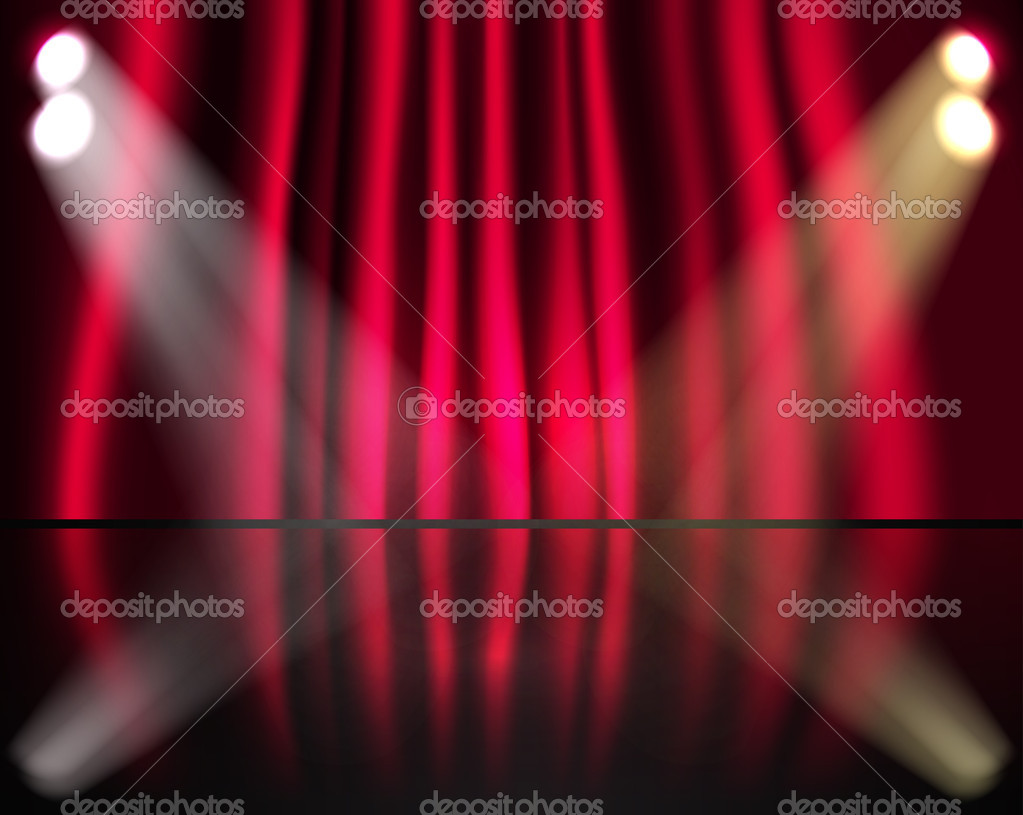 etapa de iluminacin con cortinas rojas u archivo imgenes vectoriales