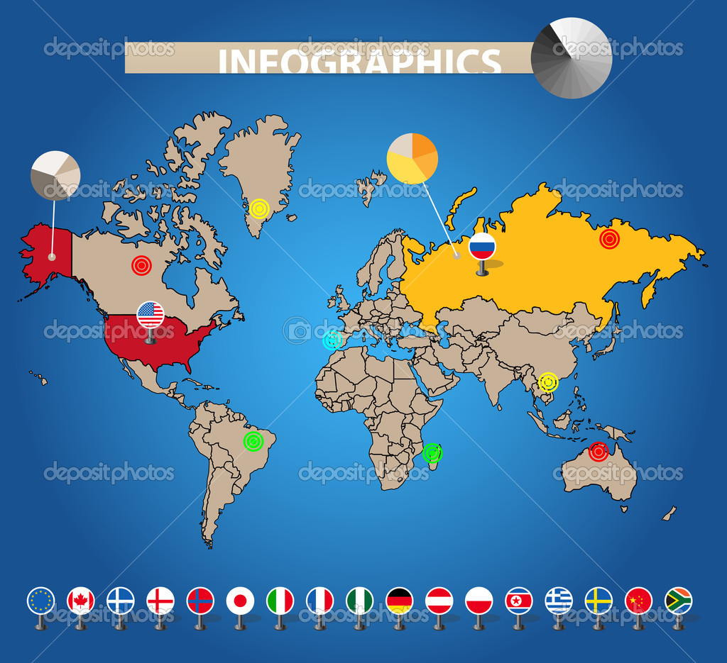 infographics color earth map with flags of different countries