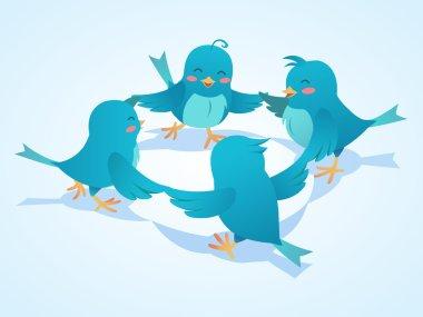 Twitter birds social network illustration