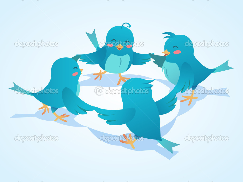 Twitter birds social network illustration