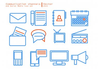 Communication channels and Social Media icon set