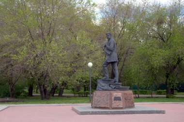 Monument to artist Mikhail Vrubel in Omsk. Siberia, Russia.