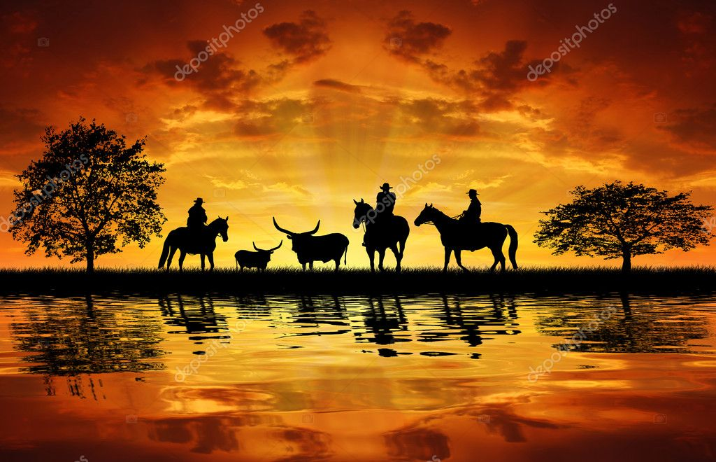 Silhouette cowboys