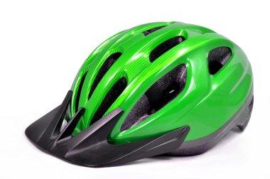 Green bicycle cross country plastic helmet