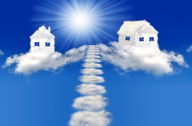 Houses from clouds with sun stock vector