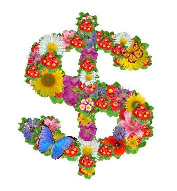 Dollar symbol from flowers
