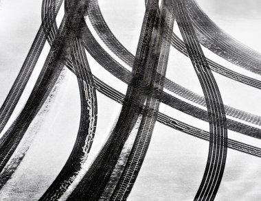 Tracks of car tires