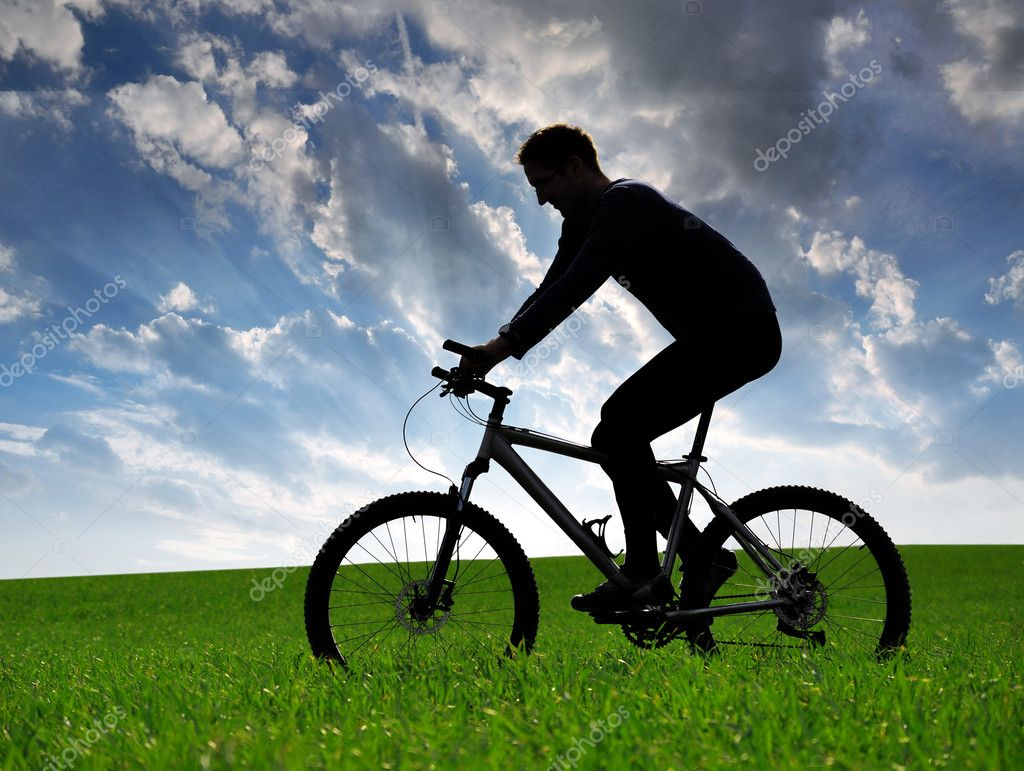 mountain biker silhouette stock photo 9291542