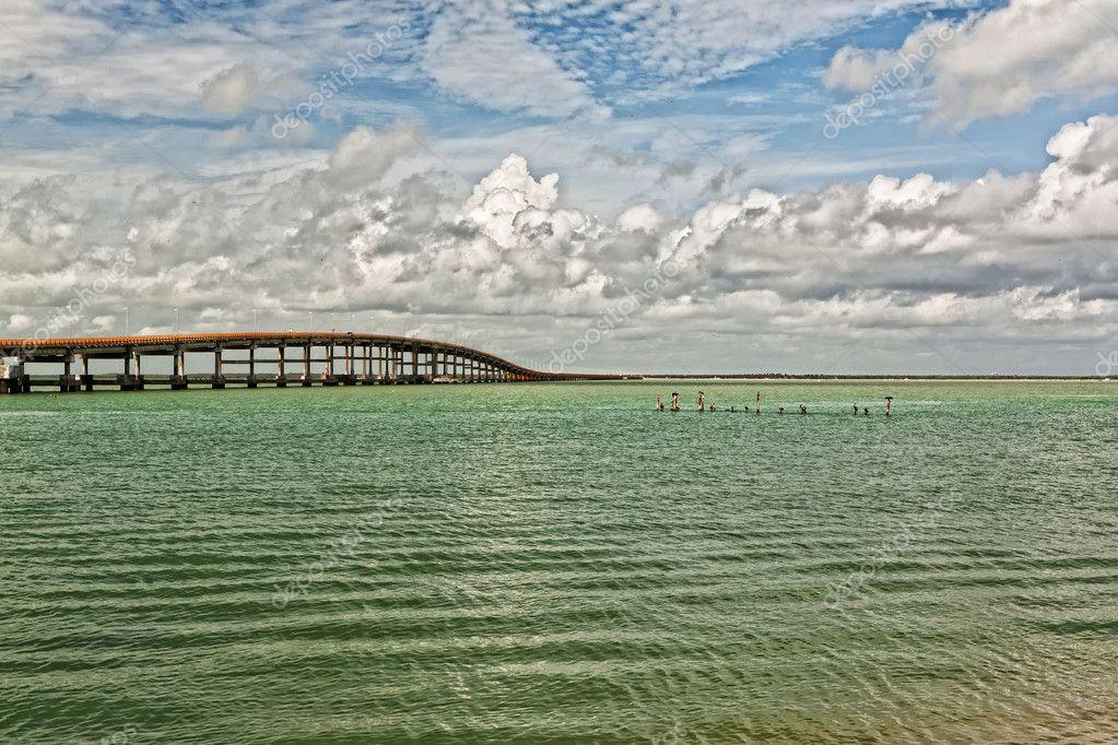 Very long highway bridge in Mexico