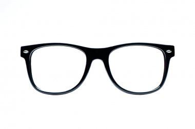 Black nerd Glasses with white background with clipping path, place for text, picture stock vector
