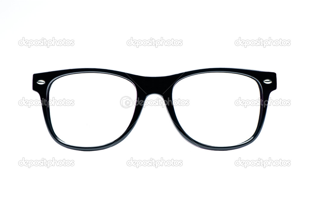 Black nerd Glasses with white background with clipping path, place for text, picture