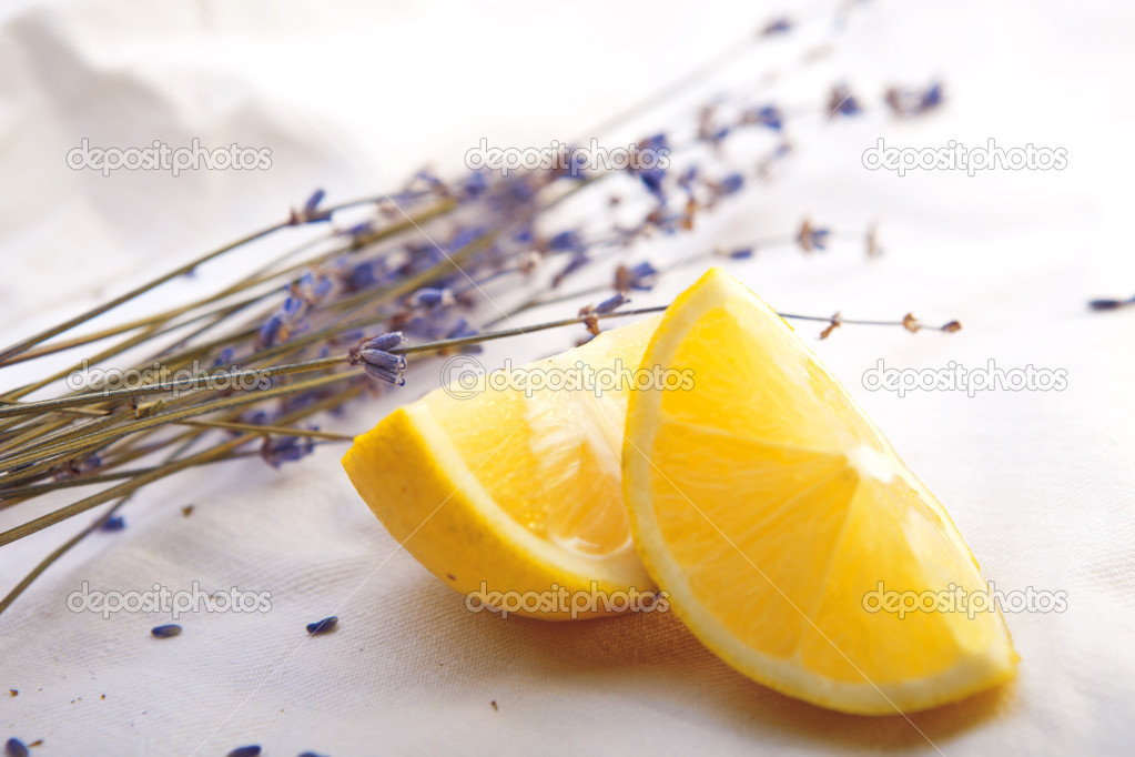 Fresh lemon with lavender