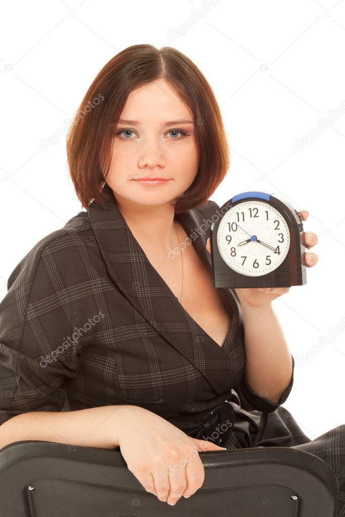 Femme Au Reveil femme avec réveil — photographie baton72 © #8324822
